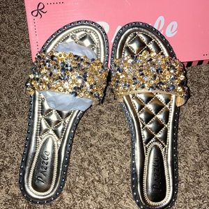 Size 9 gold sandals (never worn)